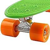 FunTomia® Mini-Board 57cm Skateboard mit oder ohne LED Leuchtrollen inkl. Aluminium Truck und Mach1 Kugellager in verschiedenen Farben zur Auswahl (Mini-Board in Grün / orange Rollen ohne LED) - 3